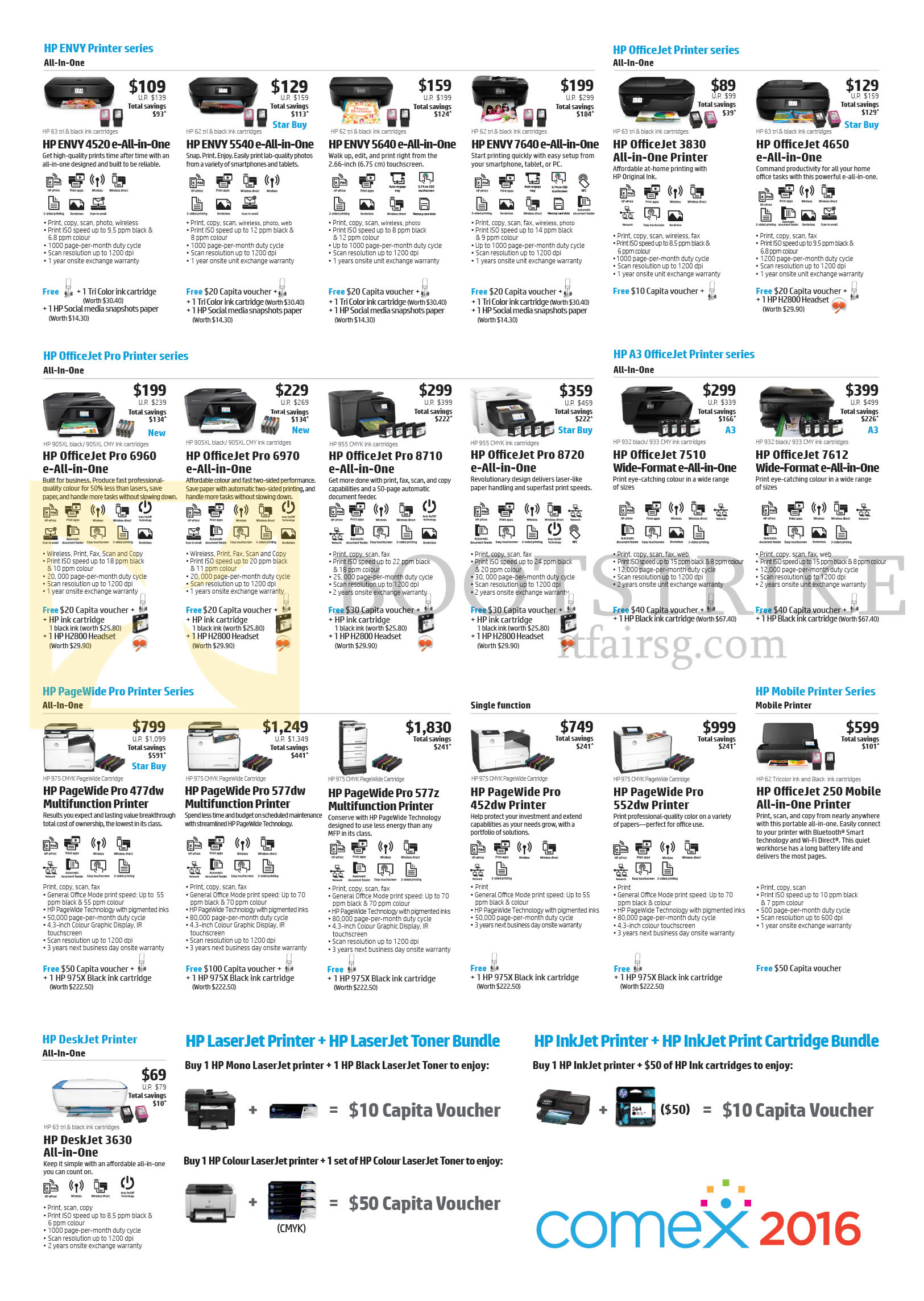COMEX 2016 price list image brochure of HP Printers, Envy, OfficeJet, OfficeJet Pro, A3 OfficeJet, Pagewide Pro, Mobile Printer, Deskjet Printer Series