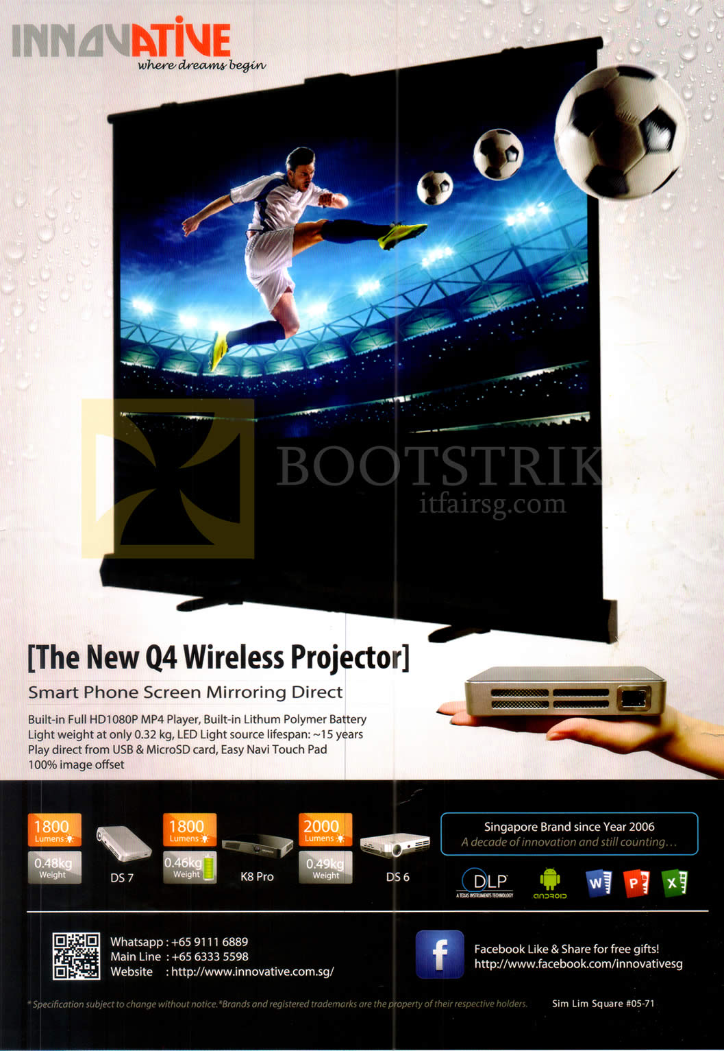 COMEX 2016 price list image brochure of Innovative Wireless Projector Q4