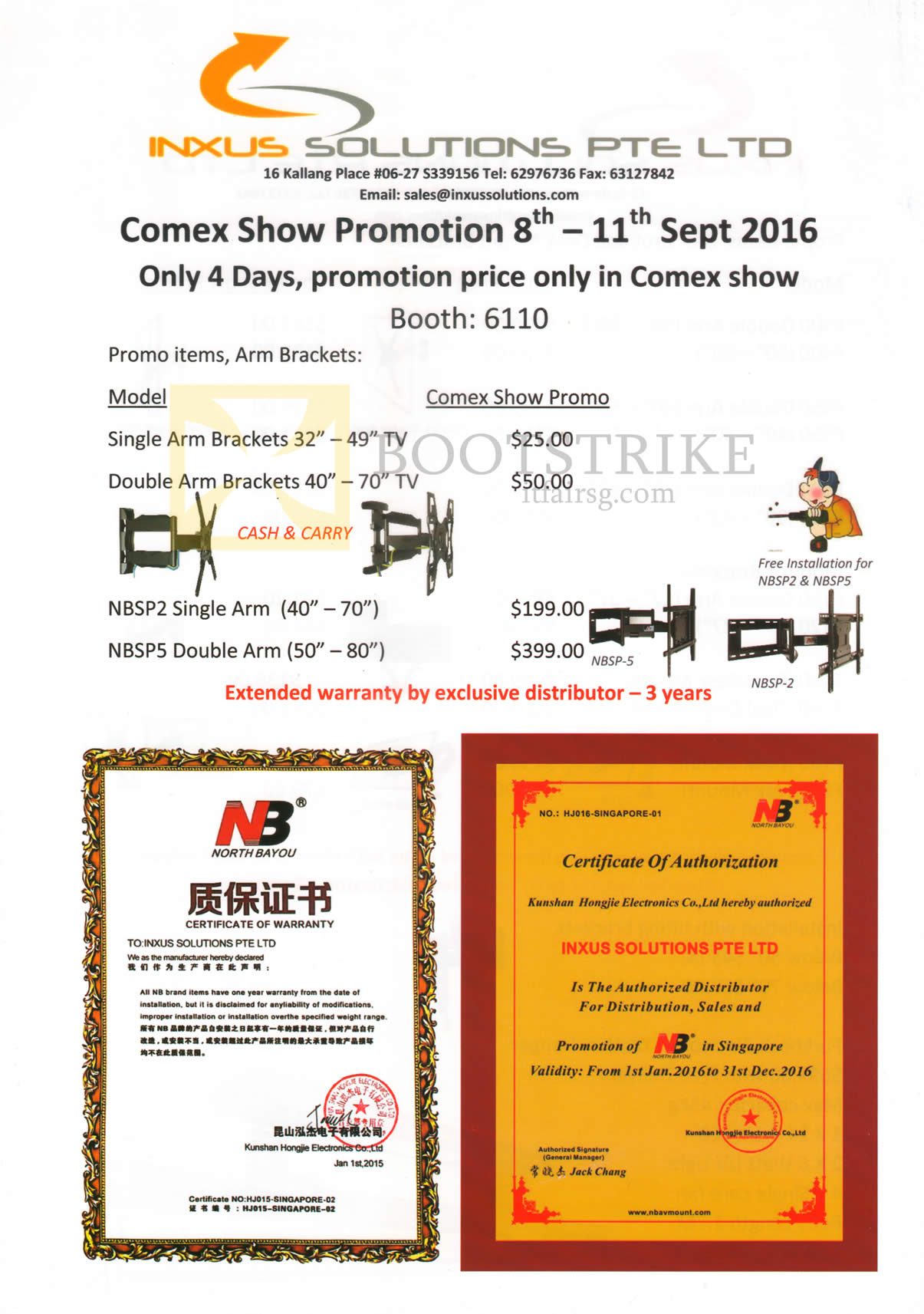 COMEX 2016 price list image brochure of Inxus Solutions TV Brackets, Arms