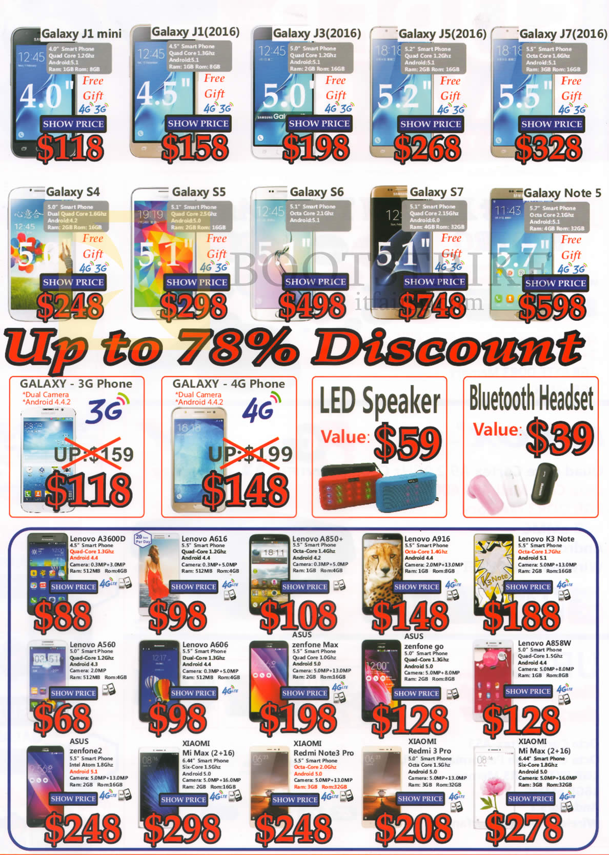 COMEX 2016 price list image brochure of J2 Mobile Phones, Notebooks, Speakers, Bluetooth Headset, Scooters, Getek, Samsung, Xiaomi, Lenovo, Apple, Asus, HP, Dell