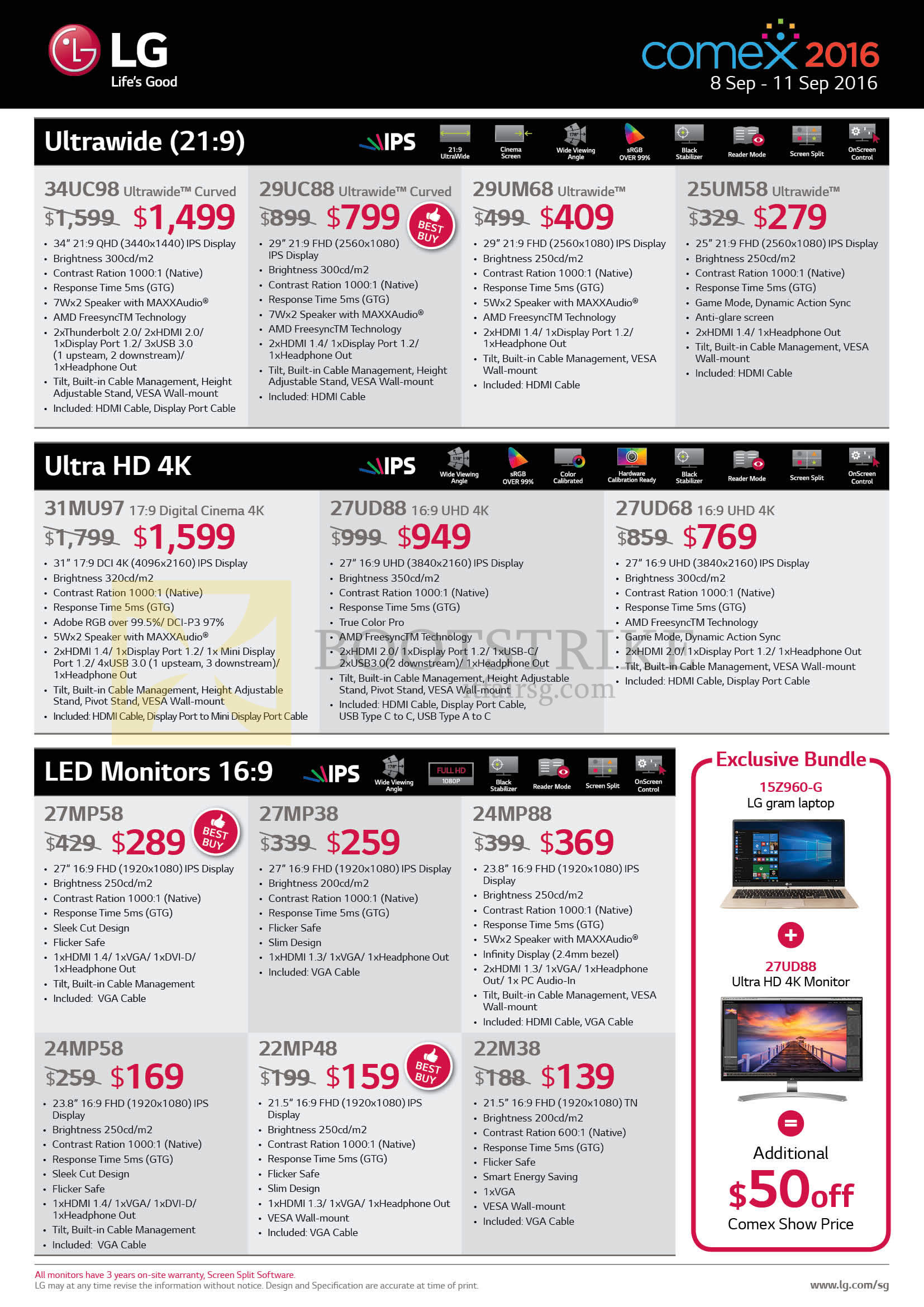 COMEX 2016 price list image brochure of LG Notebooks, Monitors, 34UC98, 29UC88, 29UM68, 25UM58, 31MU97, 27UD88, 27UD68, 27MP58, 27MP38, 24MP88, 24MP58, 22MP48, 22M38