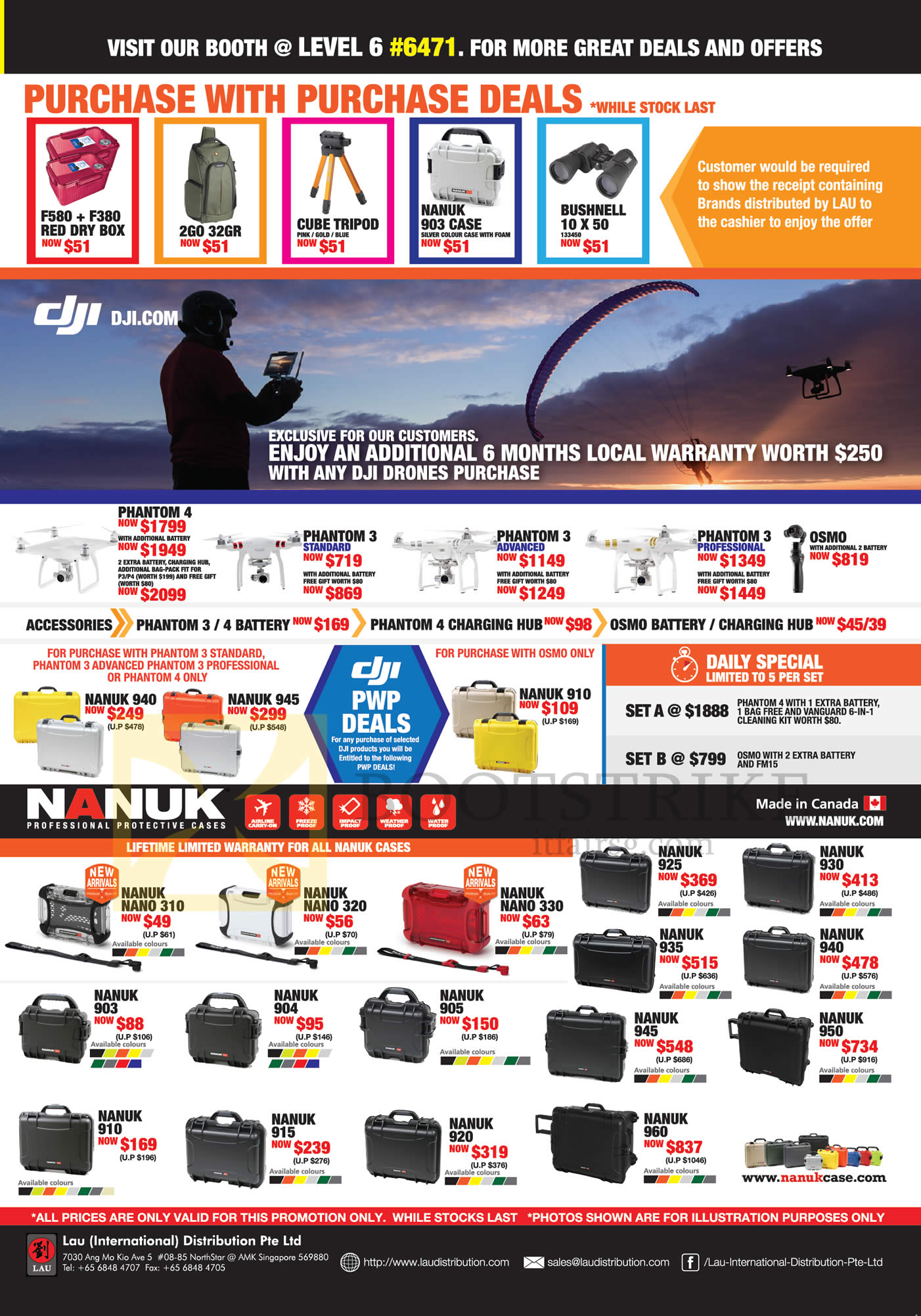 COMEX 2016 price list image brochure of Lau Intl Dji Drones, Purchase-with-Purchase, Nanuk Cases, Nano