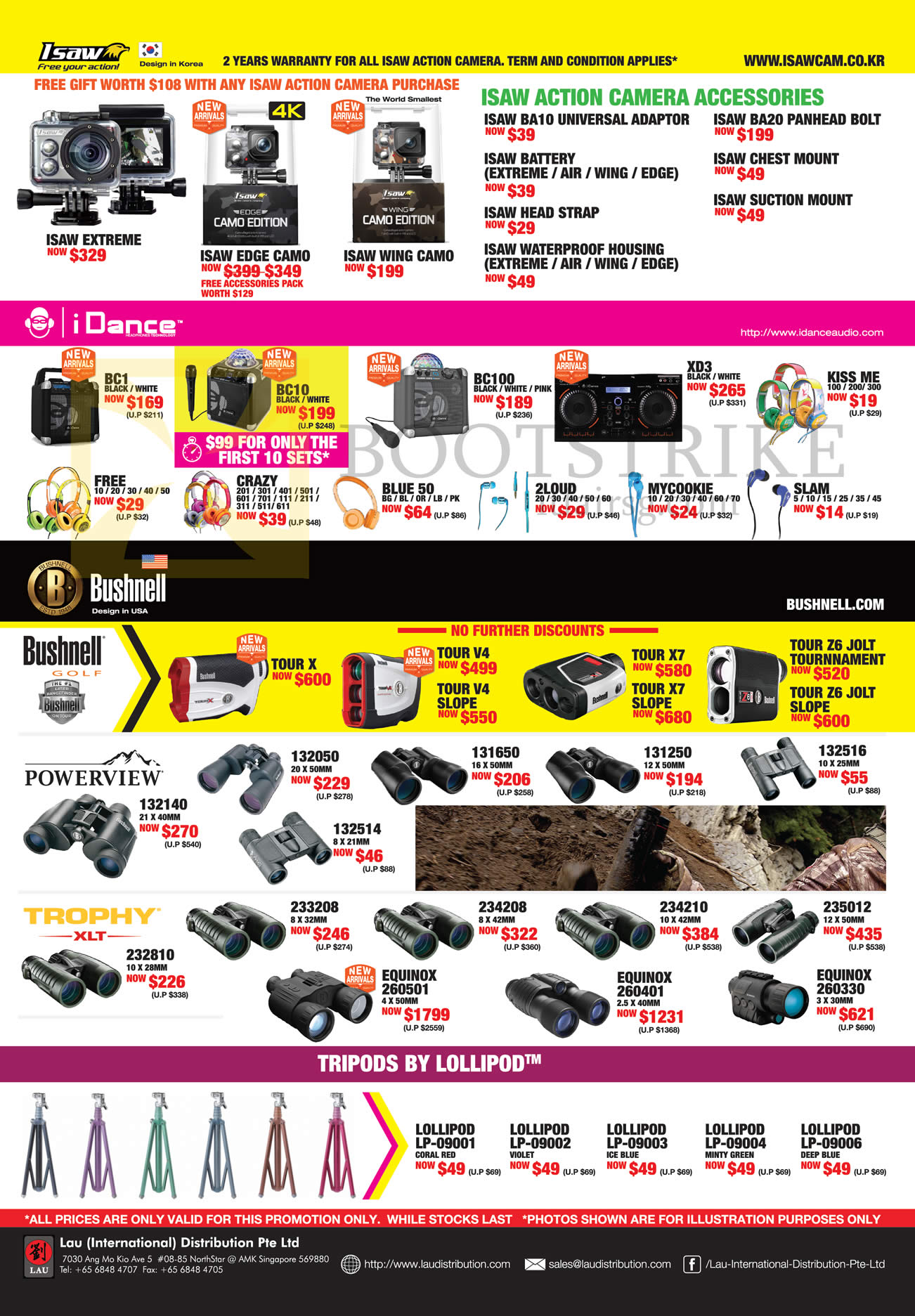 COMEX 2016 price list image brochure of Lau Intl Isaw Action Camera Accessories, IDance, Bushnell Binoculars, Lollipod Tripods, Trophy XLT, Powerview