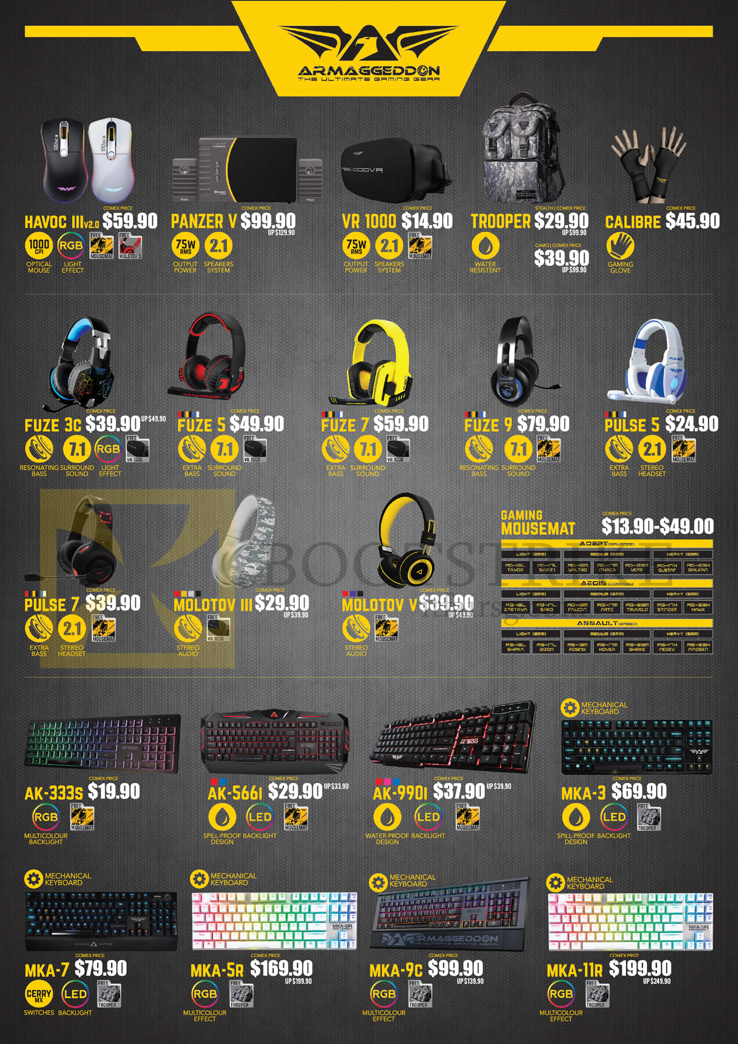COMEX 2016 price list image brochure of Leapfrog Armaggeddon Mouse, Backpack, Handgloves, Headphones, Keyboards, Havoc III, Panzer V, VR 1000, Trooper, Calibre, Fuze 3c, 5, Pulse 5, 7, AK-333S, 566I, 990I