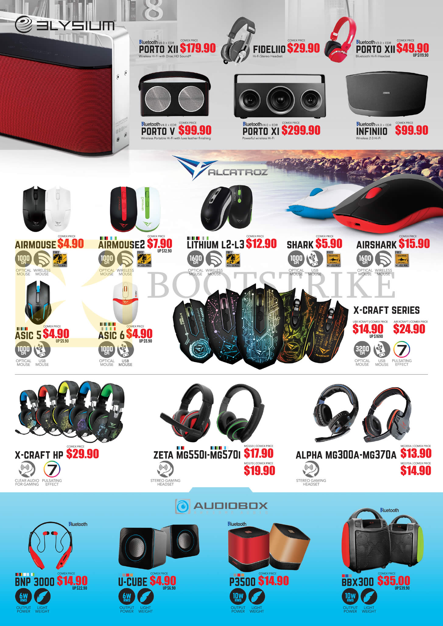 COMEX 2016 price list image brochure of Leapfrog Elysium Bluetooth Speakers, Mouse, Headphones, Porto XII, Fideliio, Airmouse, 2, Shark, Lithium L-2, L3, Airshack, Asic 5, 6, X-Craft HP, Zeta MG550I