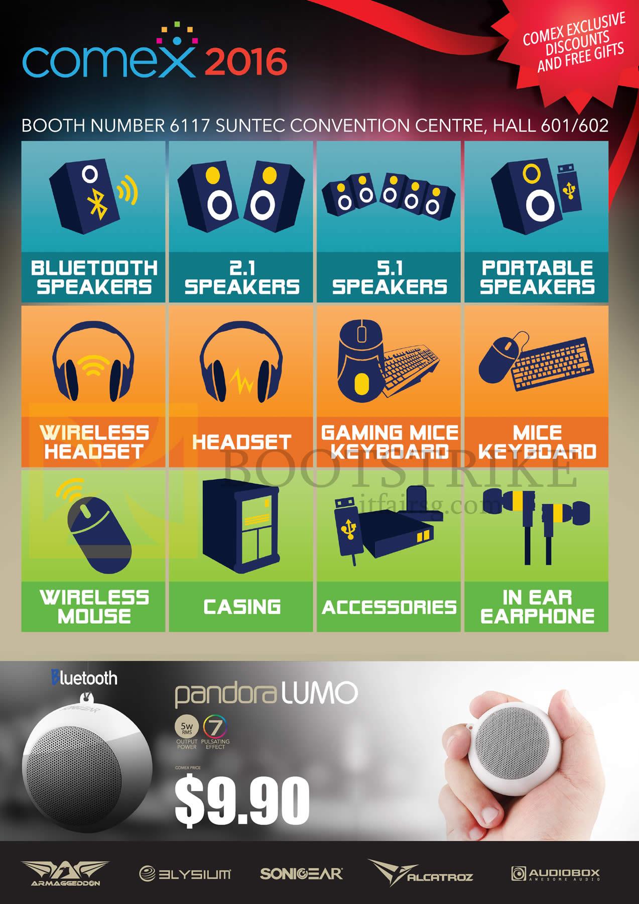 COMEX 2016 price list image brochure of Leapfrog Speakers, Keyboard, Headset, Earphone, Accessories, Mouse, Pandora Lumo