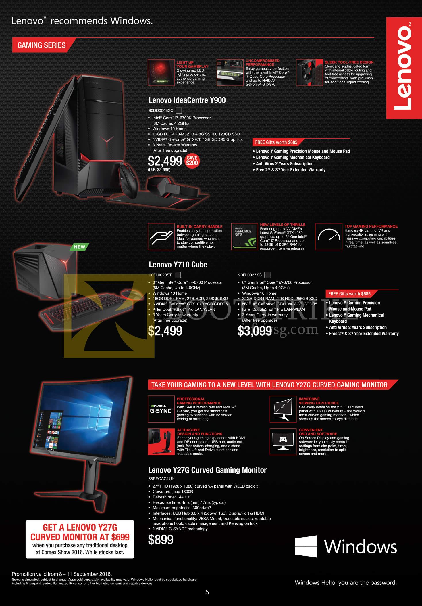 COMEX 2016 price list image brochure of Lenovo Desktop PCs Gaming IdeaCentre Y900, Y710 Cube, Y27G Monitor
