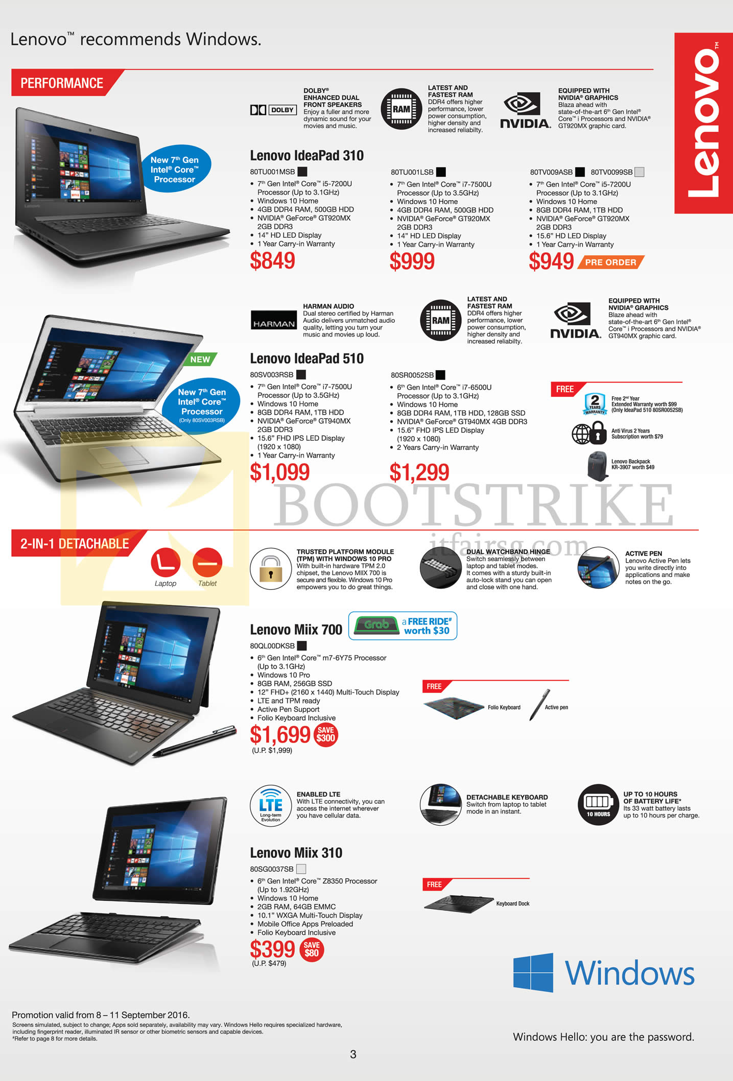 COMEX 2016 price list image brochure of Lenovo Notebooks IdeaPad 310, 510, Miix 700, 310