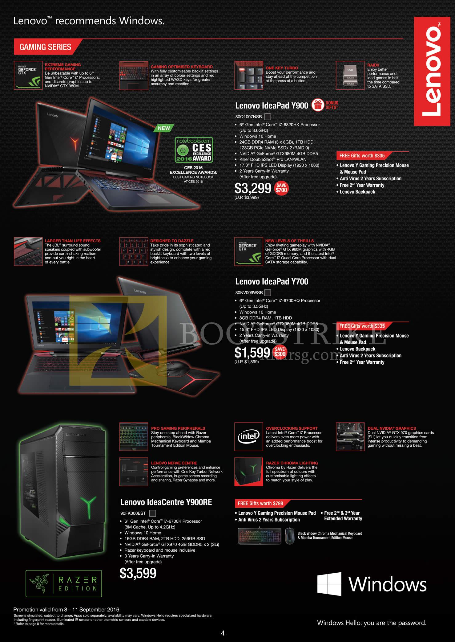 COMEX 2016 price list image brochure of Lenovo Notebooks IdeaPad Y900, Y700, Desktop PC Razer Y900RE