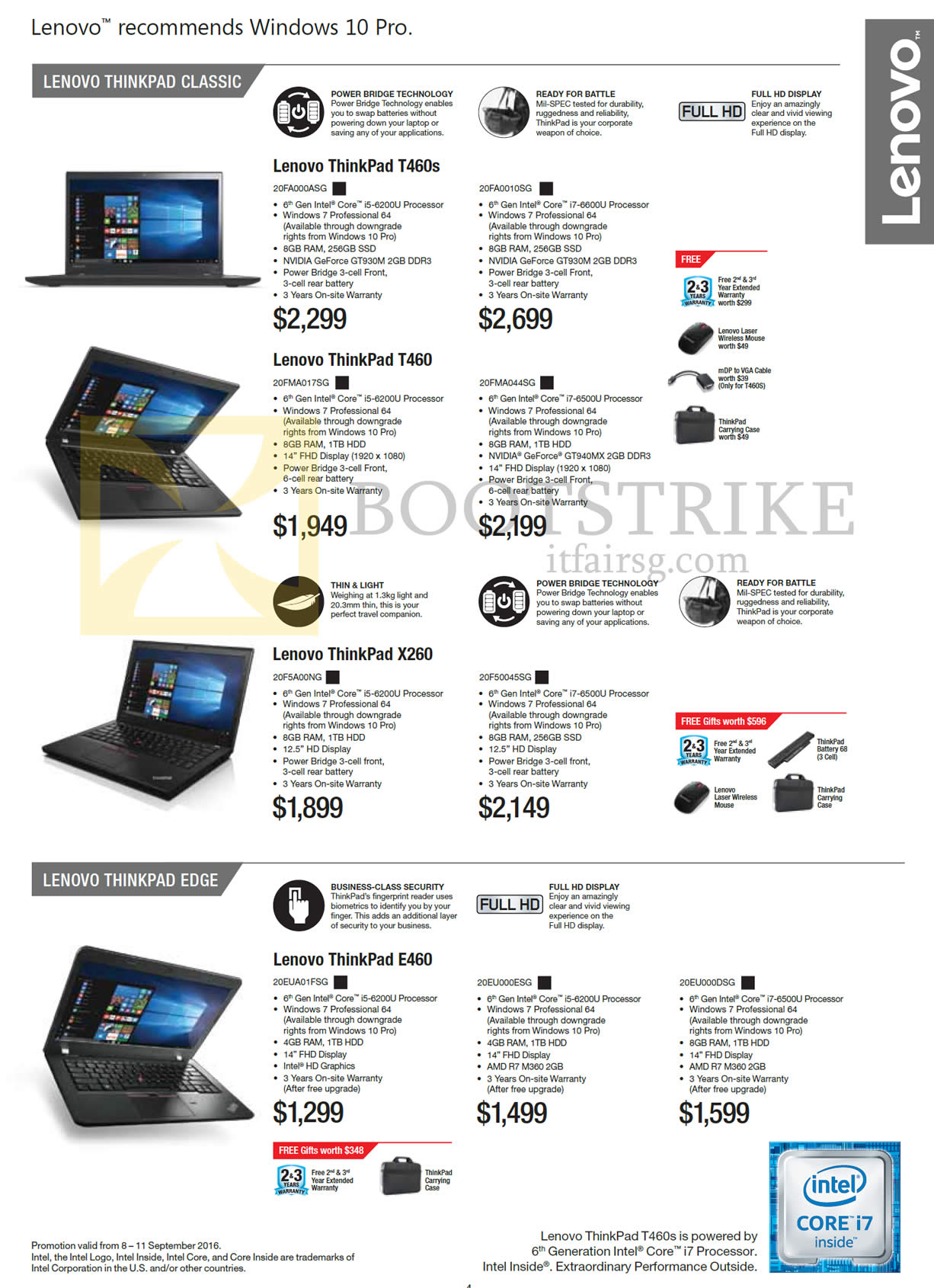 COMEX 2016 price list image brochure of Lenovo Notebooks ThinkPad Classic T460s, T460, X260, Edge E460