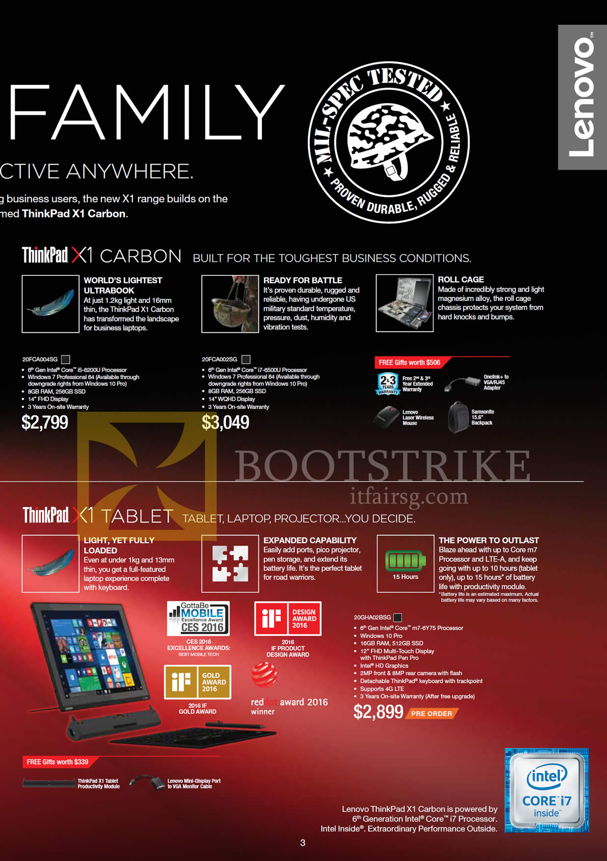 COMEX 2016 price list image brochure of Lenovo Notebooks ThinkPad X1 Carbon, X1 Tablet