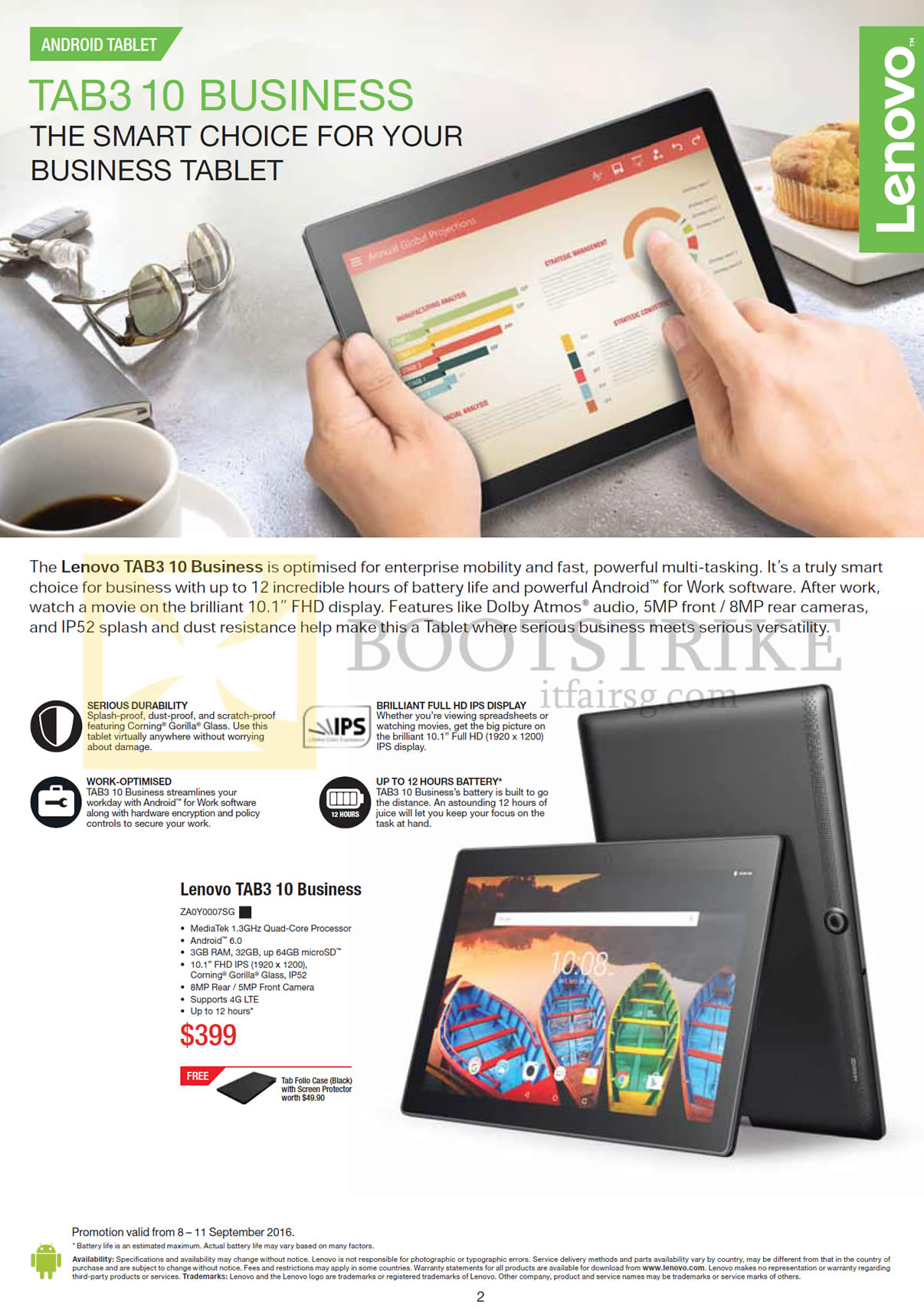 COMEX 2016 price list image brochure of Lenovo Tablet Tab3 10 Business