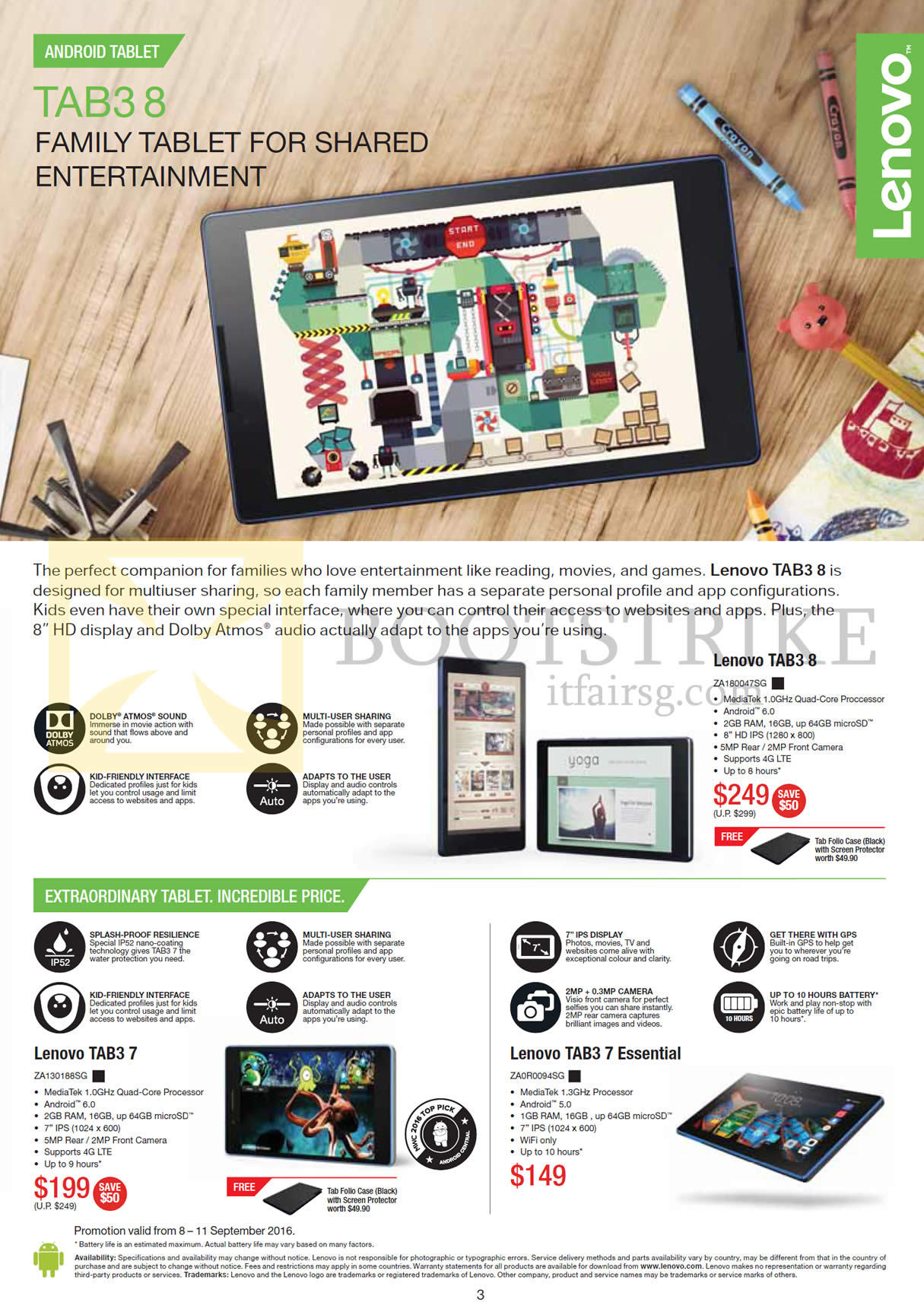 COMEX 2016 price list image brochure of Lenovo Tablets Tab3 7, Tab3 7 Essential