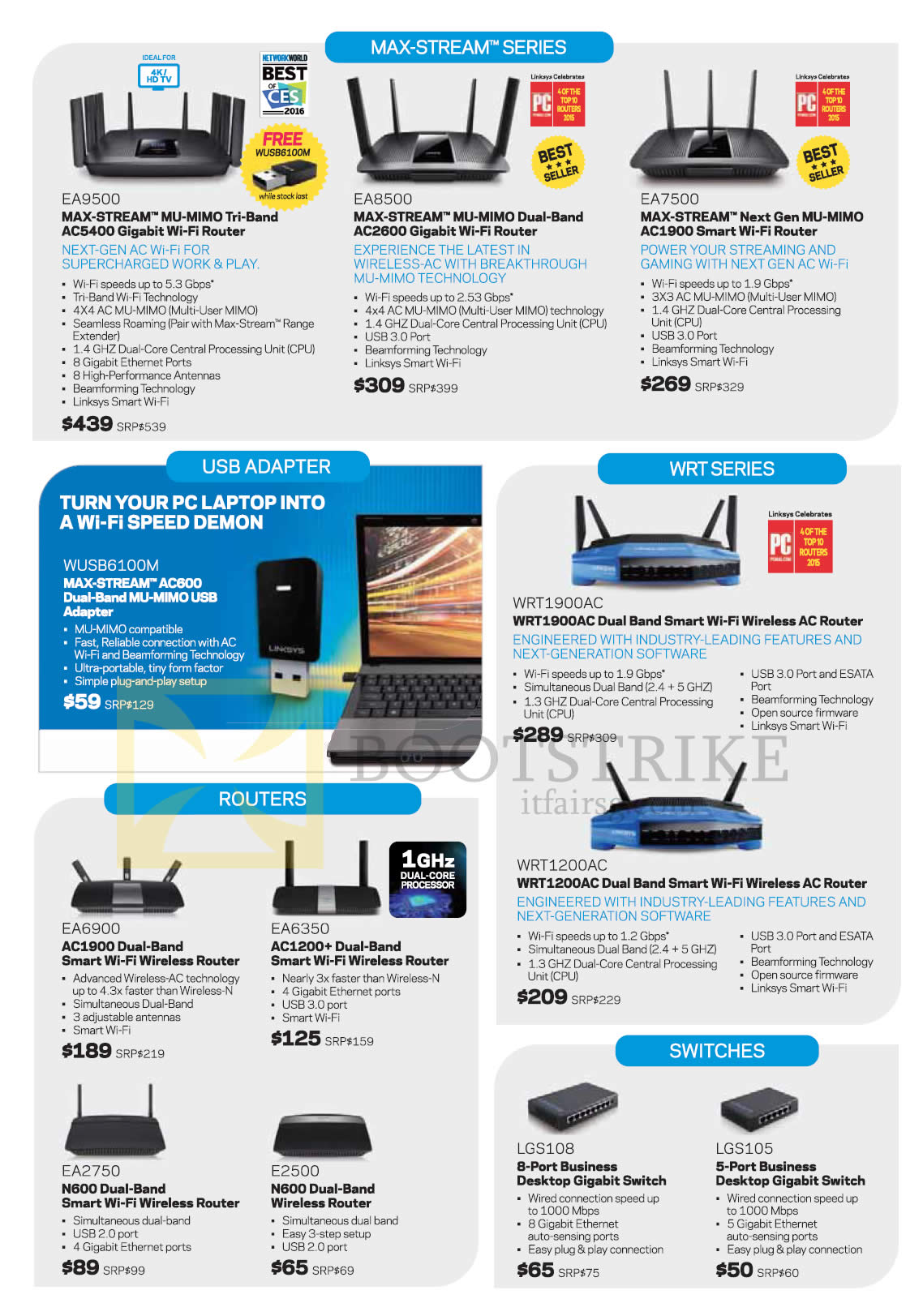 COMEX 2016 price list image brochure of Linksys Wi-Fi Wireless Routers, AC Routers, Gigabit Switches, USB Adapter, EA9500, EA8500, EA7500, WUSB6100M, WRT1900AC, WRT1200AC, EA6900, EA6350, EA2750