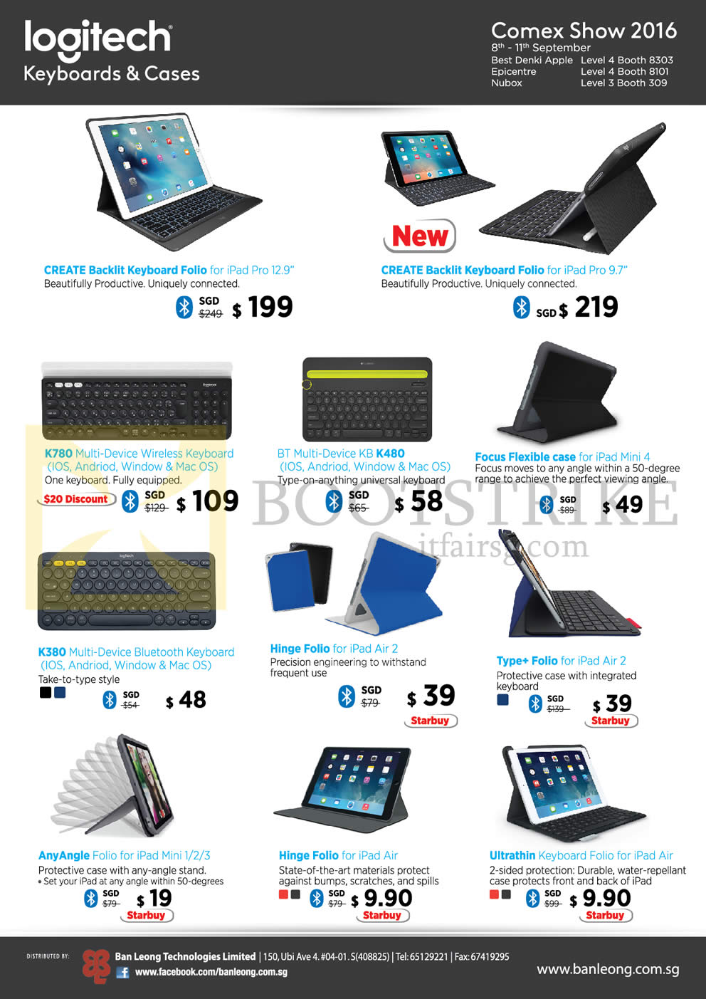COMEX 2016 price list image brochure of Logitech Keyboards, Cases, Create Backlit Keyboard Folio, K780, K480, Focus Flexible Case, K380, Hinge Folio, Type Plus Folio, Any Angle, Hinge Folio, Ultrathin