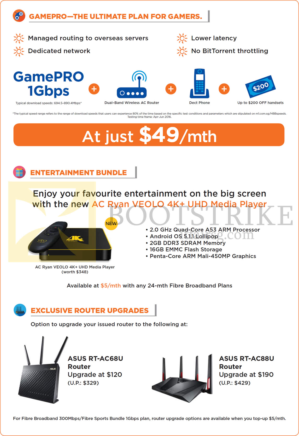 COMEX 2016 price list image brochure of M1 49.00 GamePRO 1Gbps, Entertainment Bundle, Routers, Asus RT-AC68U, RT-AC88U