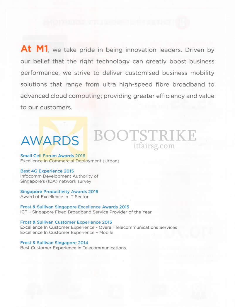 COMEX 2016 price list image brochure of M1 Business Awards