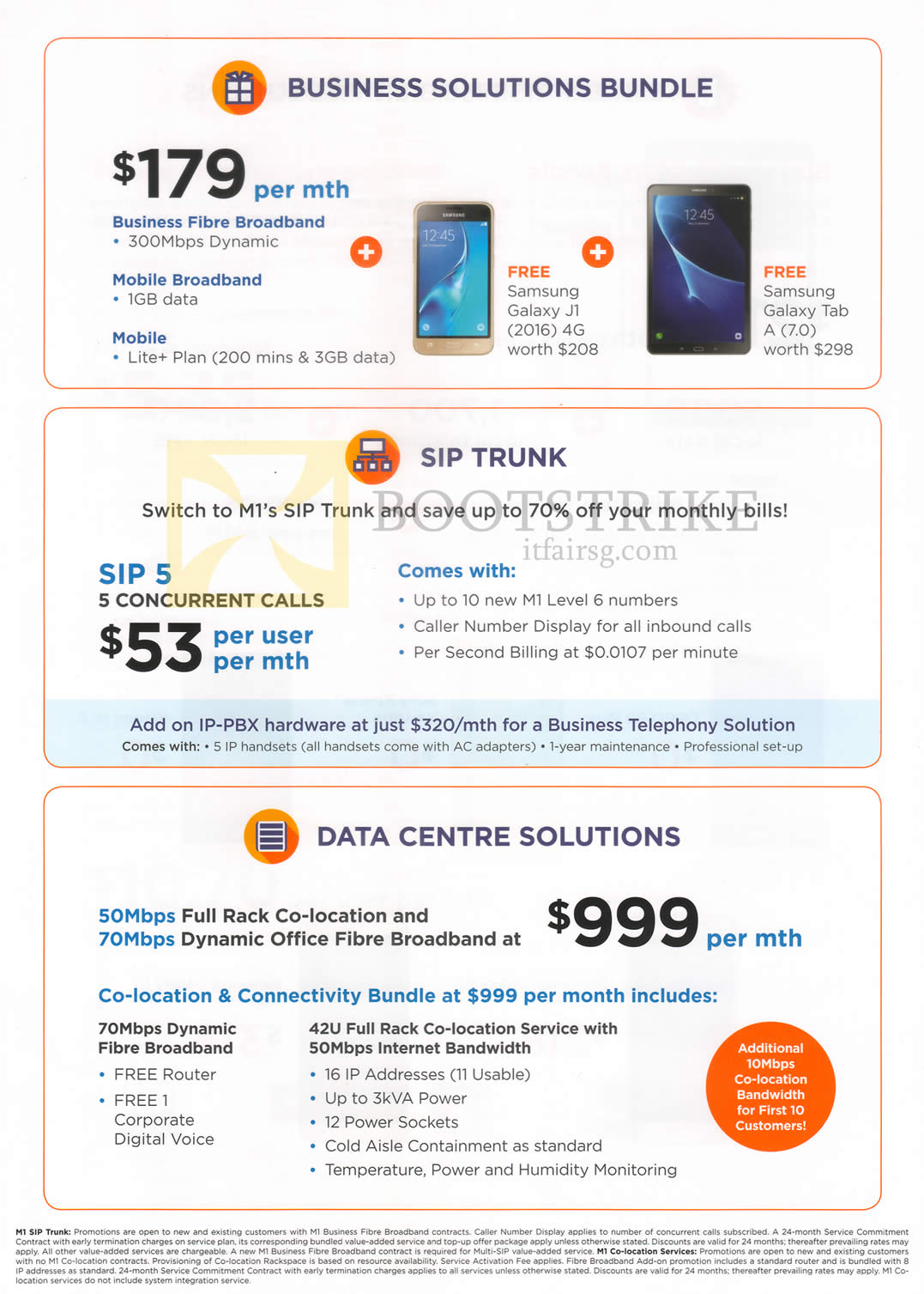 COMEX 2016 price list image brochure of M1 Business Solutions Bundle, SIP Trunk, Data Centre Solutions, Free Samsung Galaxy J1 2016, Tab A 7