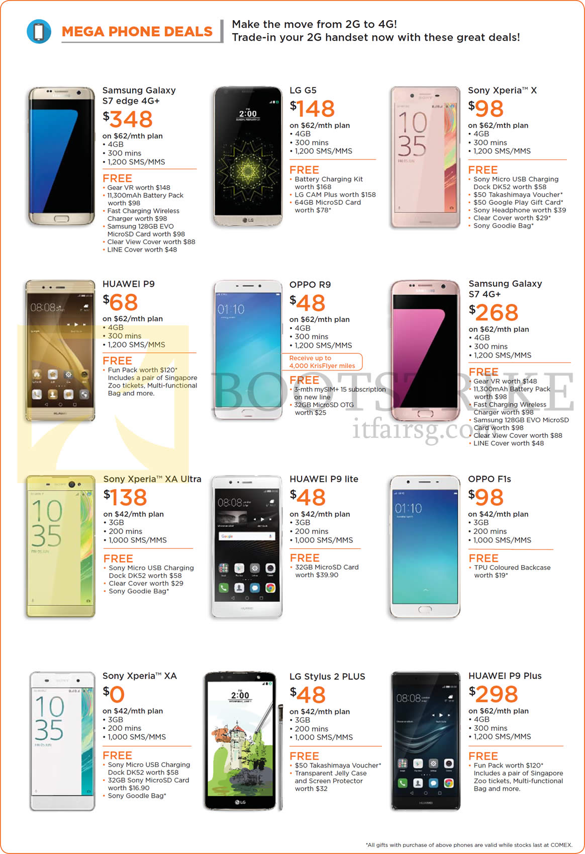 COMEX 2016 price list image brochure of M1 Mobile Phone Deals Samsung Galaxy S7 Edge, S7, LG G5, Stylus 2 Plus, Sony Xperia X, XA Ultra, XA, Huawei P9, P9 Plus, Oppo R9, F1s