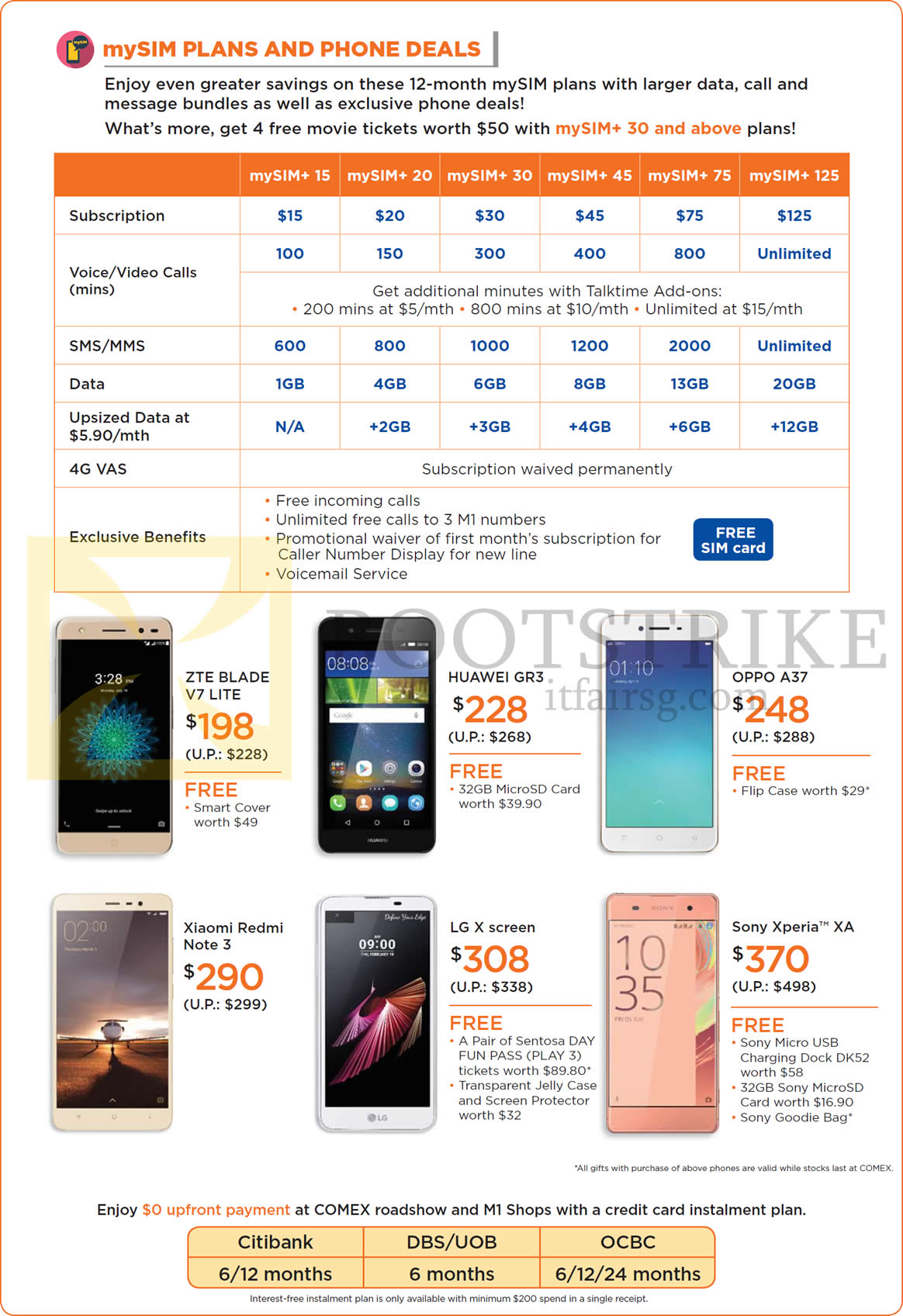 m1 mysim plans phone deals credit card instalment plans mysim