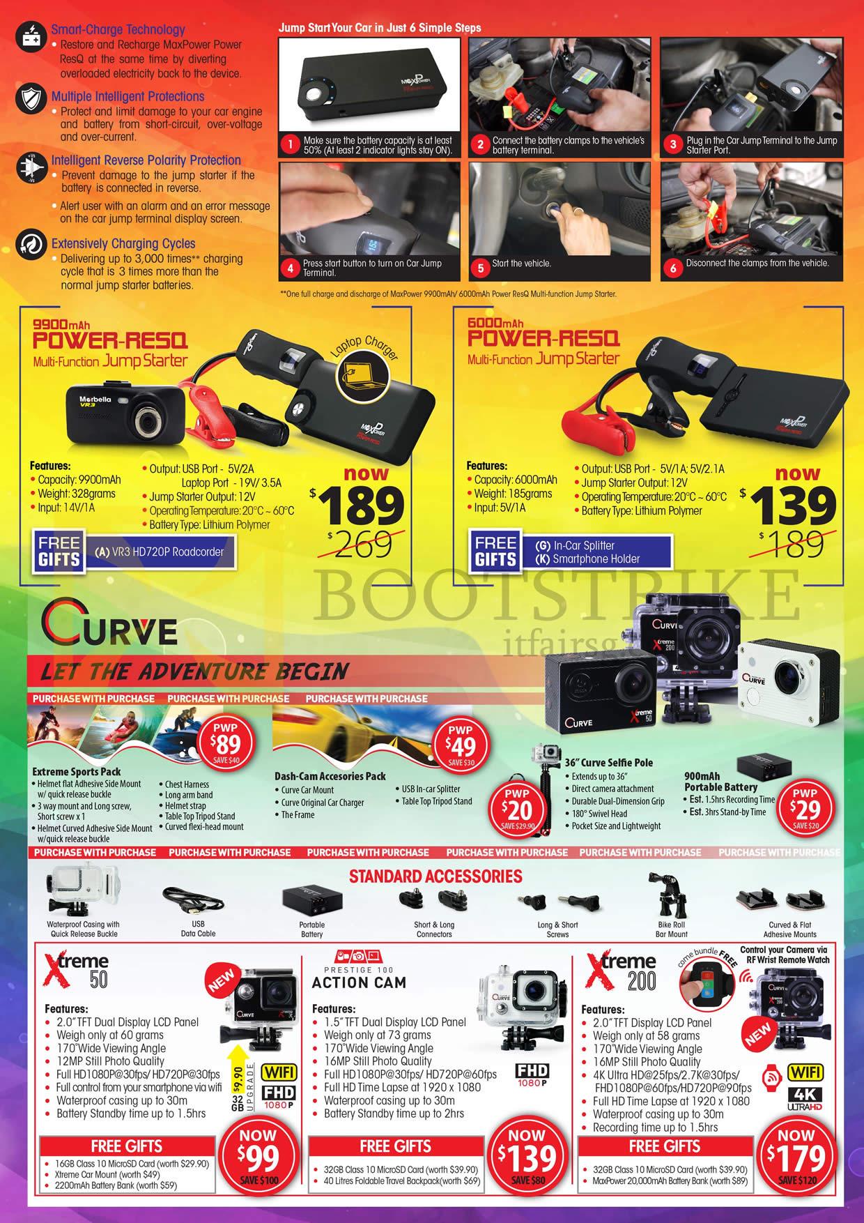 COMEX 2016 price list image brochure of Maka GPS Marbella Car Cameras, Jump Starter, Power RE50, Curve, Xtreme 50, 200, Prestige 100 Action Cam