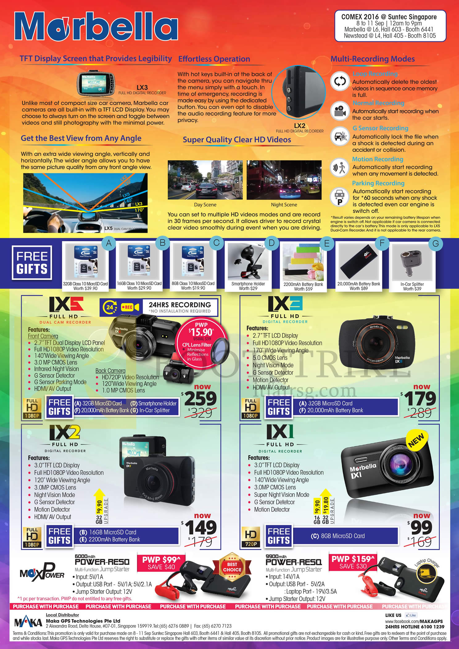 COMEX 2016 price list image brochure of Maka GPS Marbella Car Digital Cam Recorders LX3, LX5, LX2, LX1, Power RE50