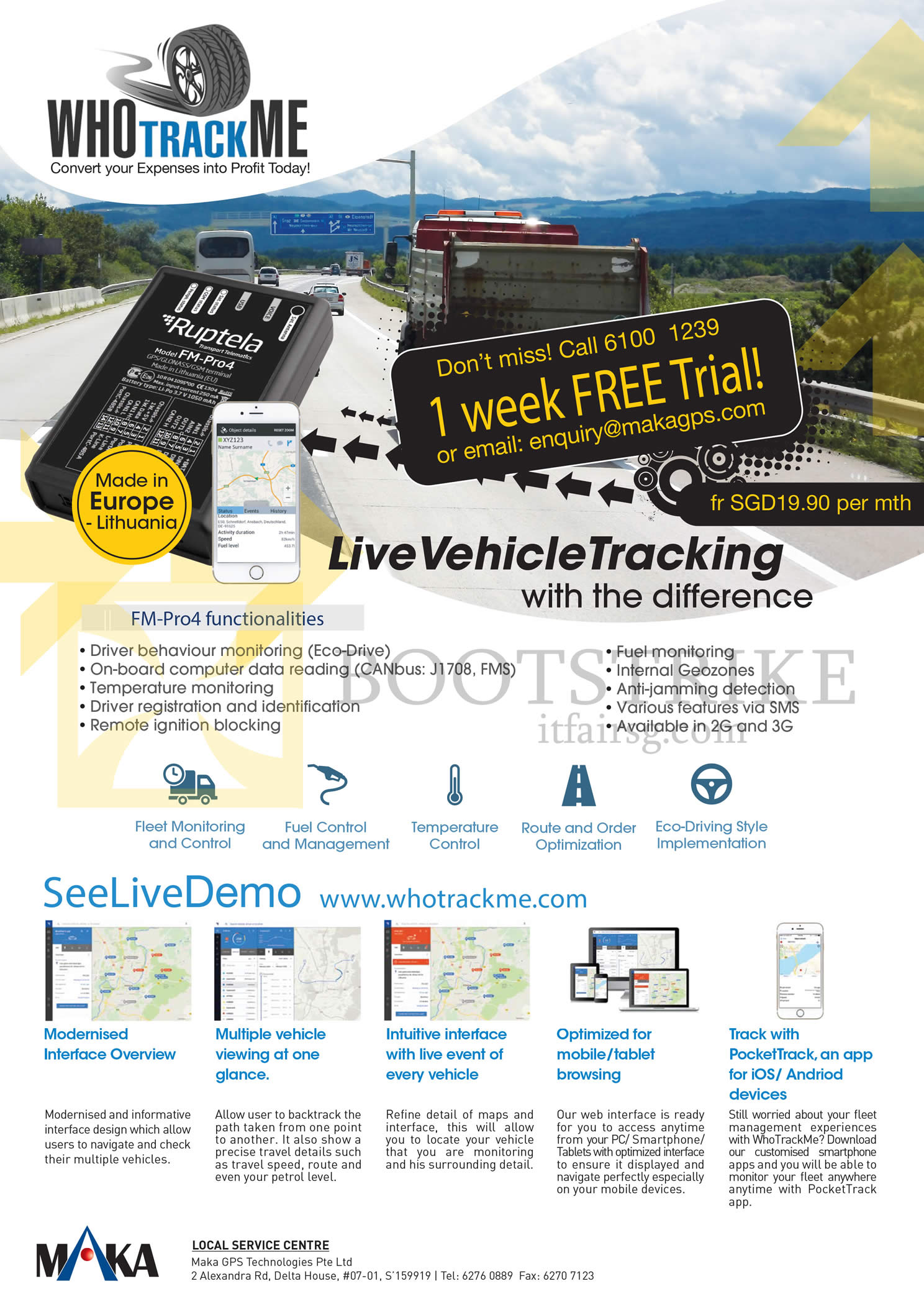 COMEX 2016 price list image brochure of Maka GPS Marbella Live Vehicle Tracking FM-Pro4