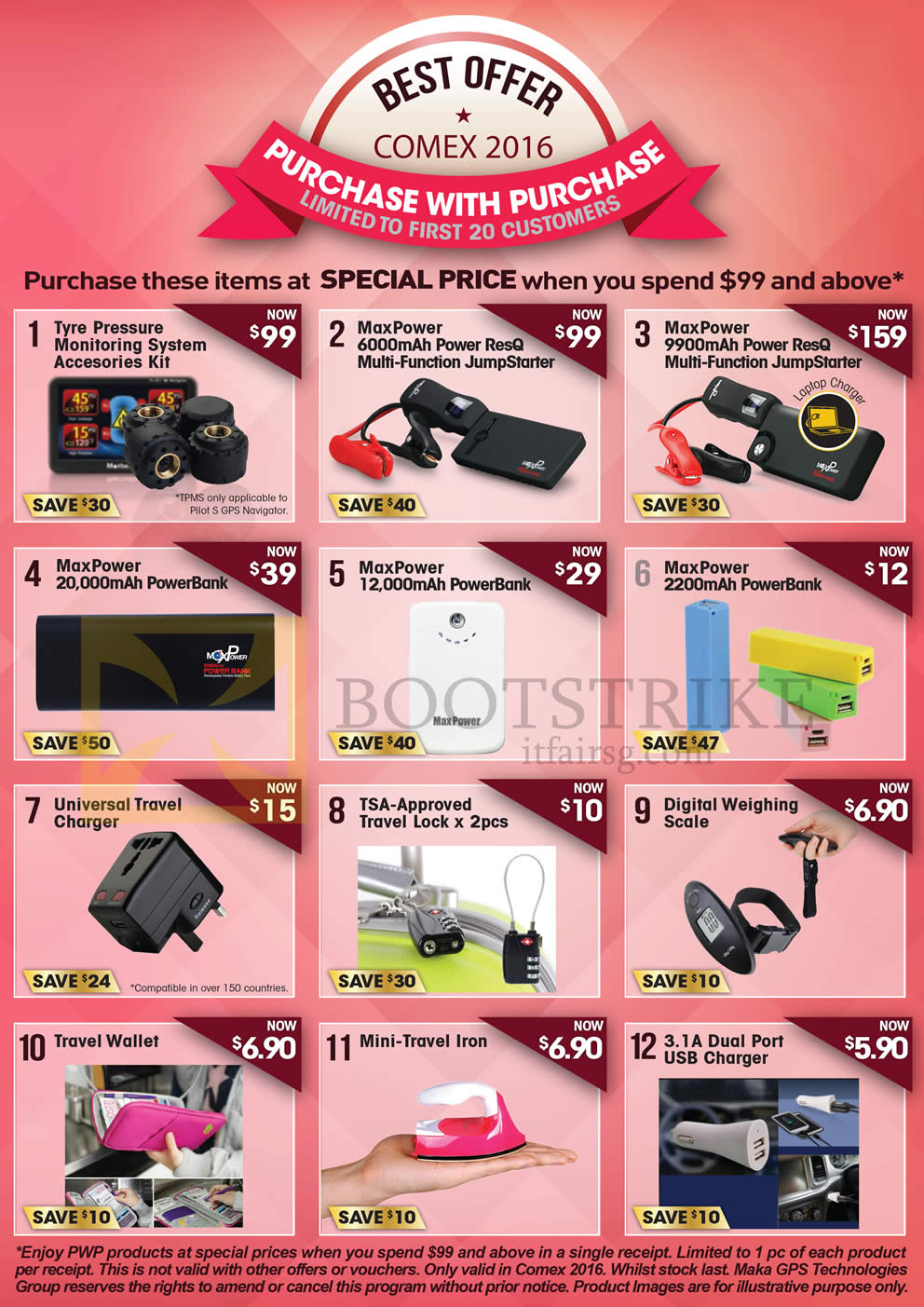 COMEX 2016 price list image brochure of Maka GPS Marbella Purchase With Purchase Monitoring System, Jump Starter, Powerbanks, Travel Lock, Digital Weighing Scale, Travel Iron, Wallet, USB Charger