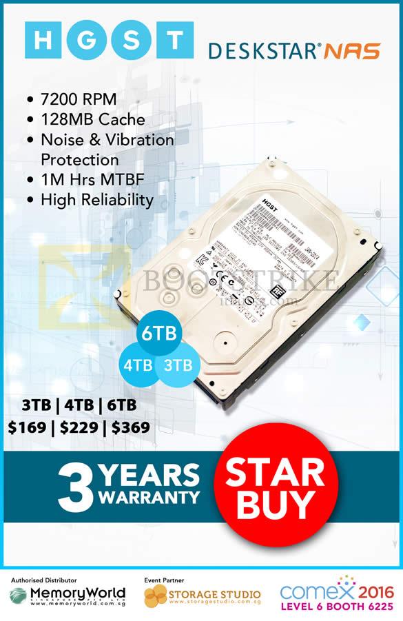 COMEX 2016 price list image brochure of Memory World HGST NAS DeskStar 3TB, 4TB, 6TB