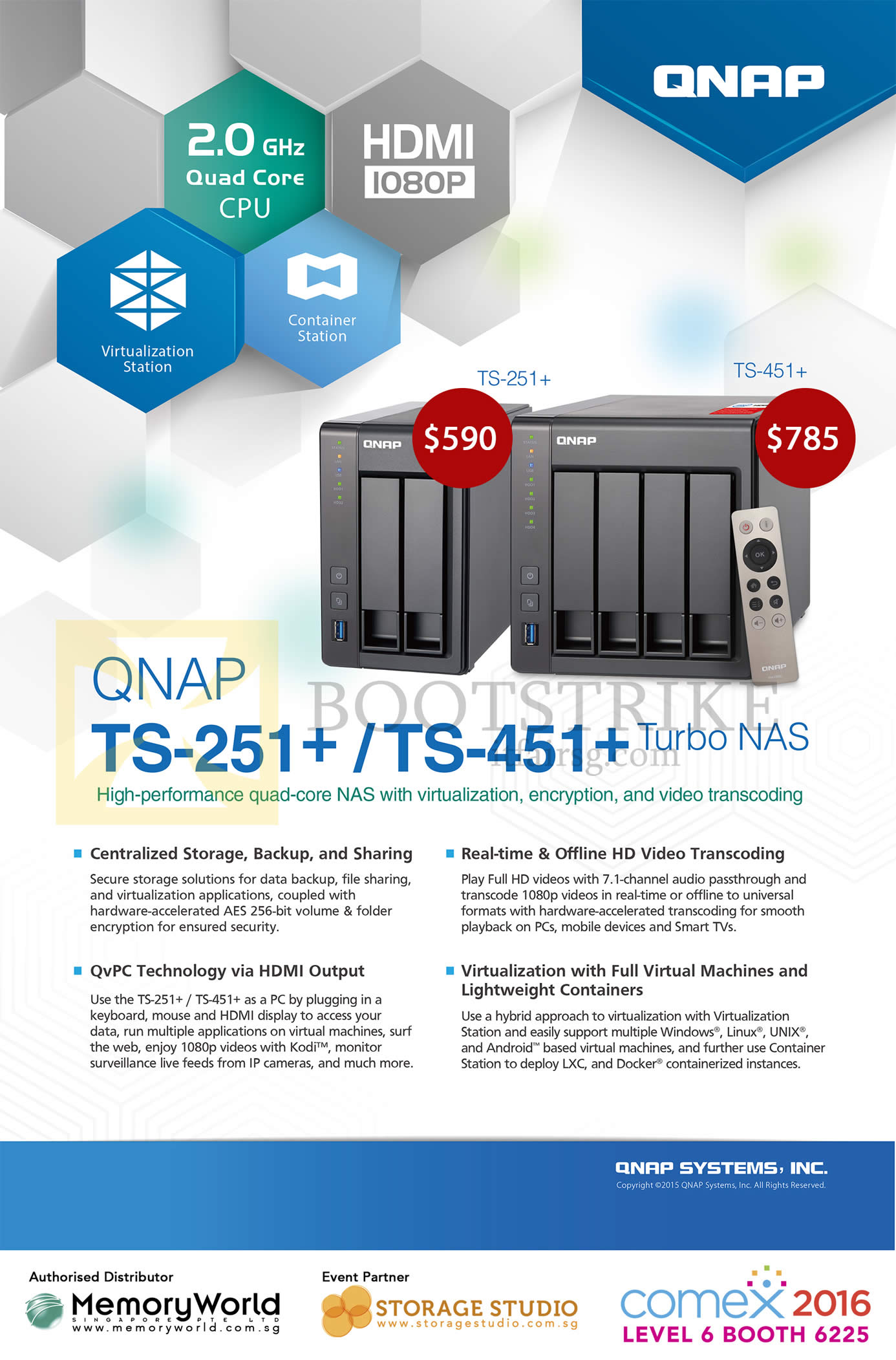 COMEX 2016 price list image brochure of Memory World QNAP NAS TS-251 Plus, 451 Plus Series