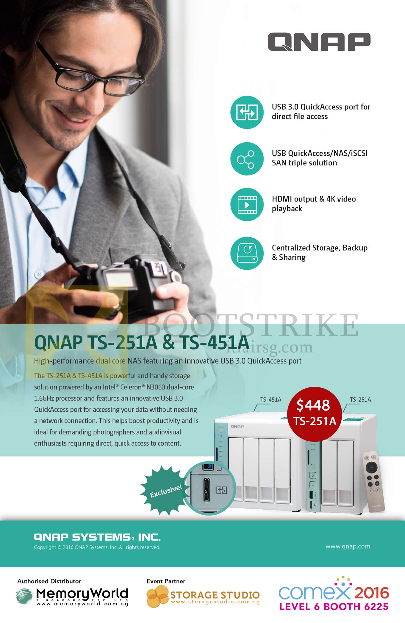 COMEX 2016 price list image brochure of Memory World QNAP NAS TS-251A, 451A
