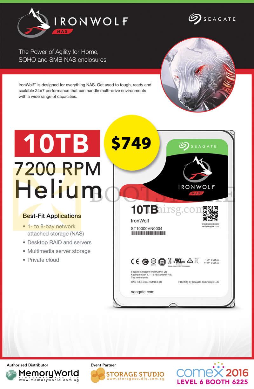COMEX 2016 price list image brochure of Memory World Seagate Ironwolf 10TB 7200RPM Helium