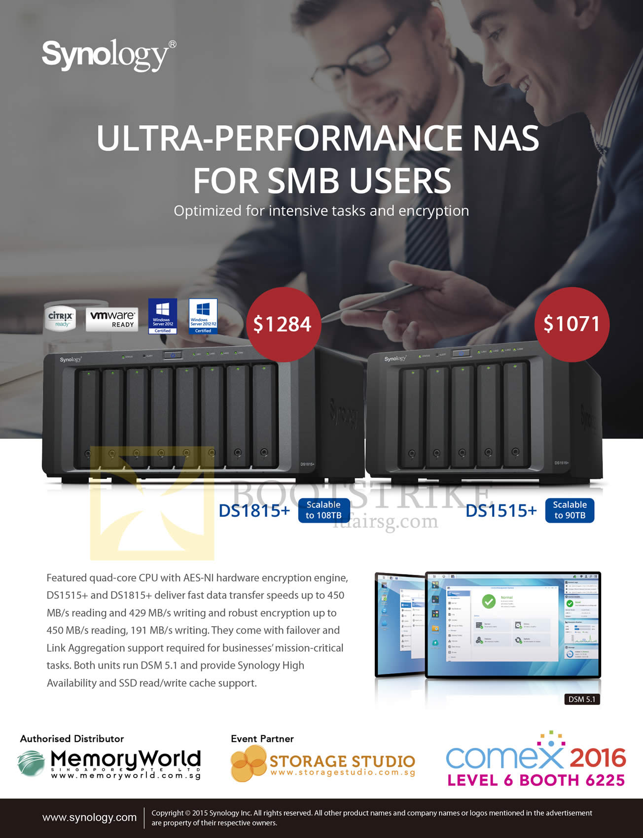 COMEX 2016 price list image brochure of Memory World Synology NAS DS1815plus, DS1515plus