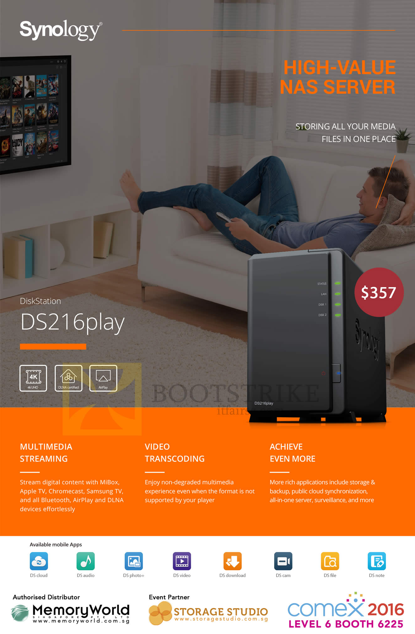 COMEX 2016 price list image brochure of Memory World Synology NAS Diskstation DS216play