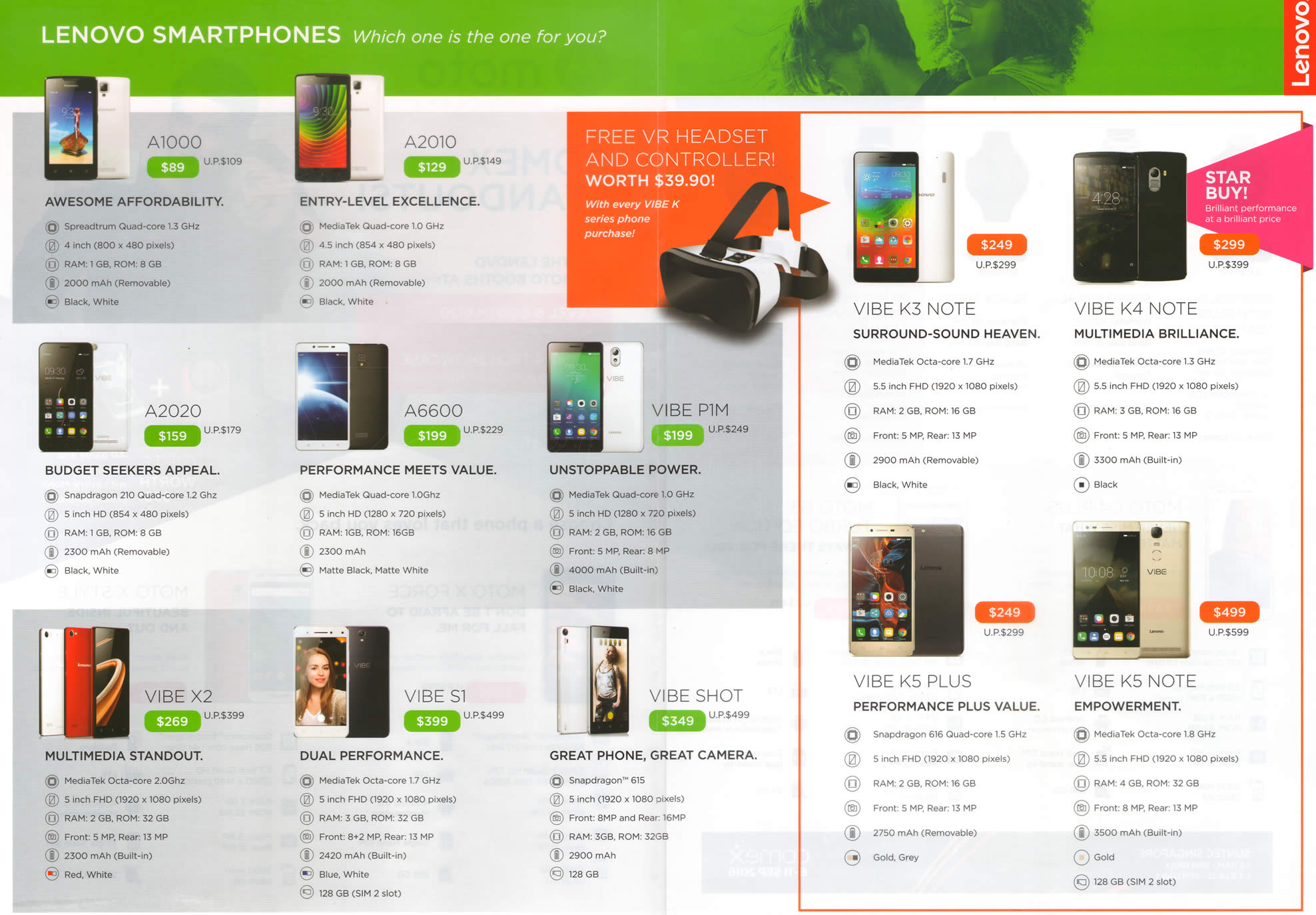 COMEX 2016 price list image brochure of Moto Lenovo Smartphones A1000, A2010, A2020, A6600, Vibe X2, S1, Vibe P1M, Shot, K3, K4, K5 Plus, K5 Note 2