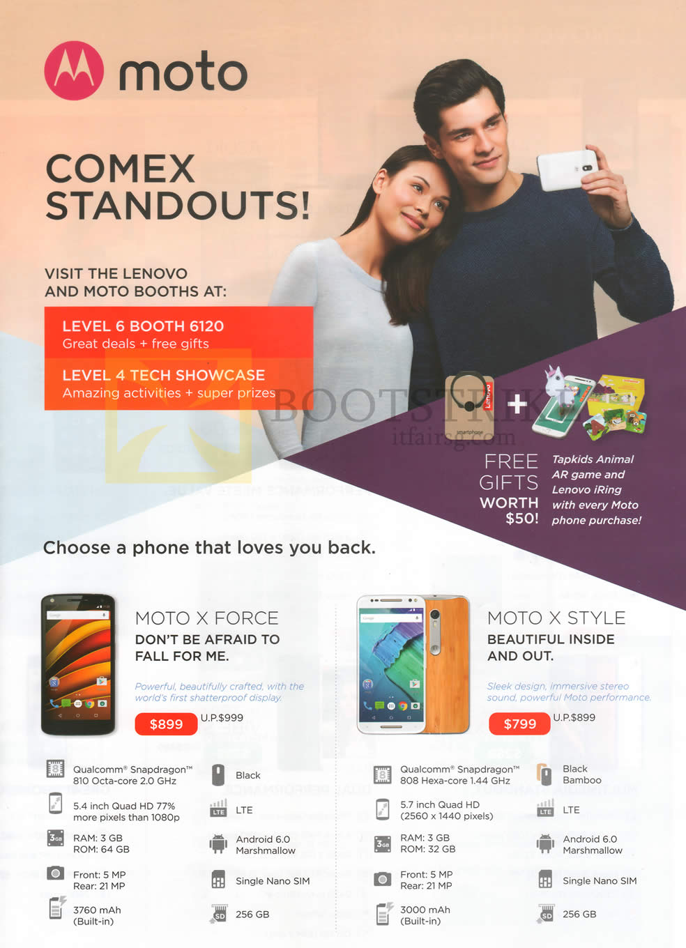 COMEX 2016 price list image brochure of Moto Mobile Phones Moto X Force, X Style
