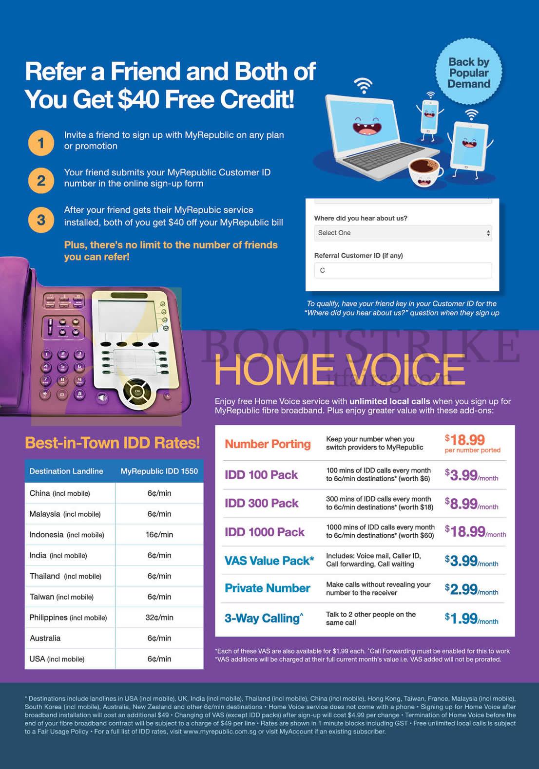 COMEX 2016 price list image brochure of MyRepublic Refer Friend N Get 40 Dollar Credit, Home Voice, IDD Rates