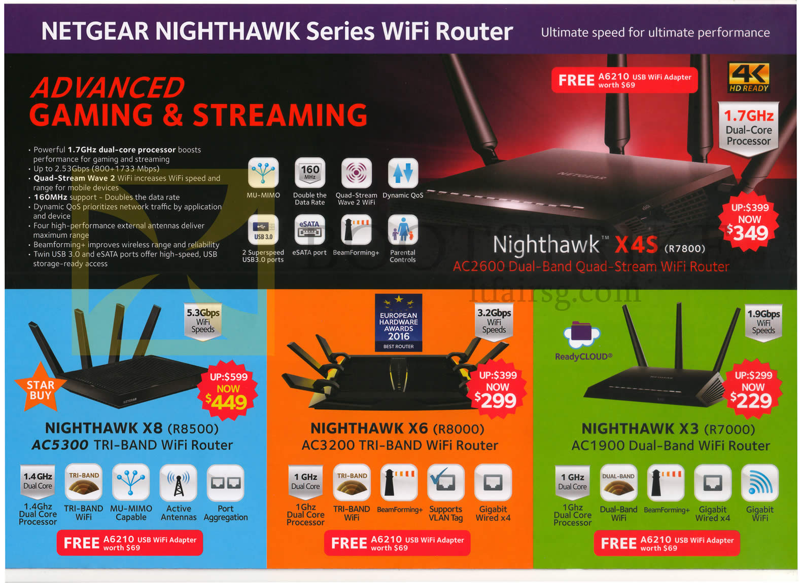 COMEX 2016 price list image brochure of Netgear Wireless Routers Nighthawk X4S, X8, X6, X3