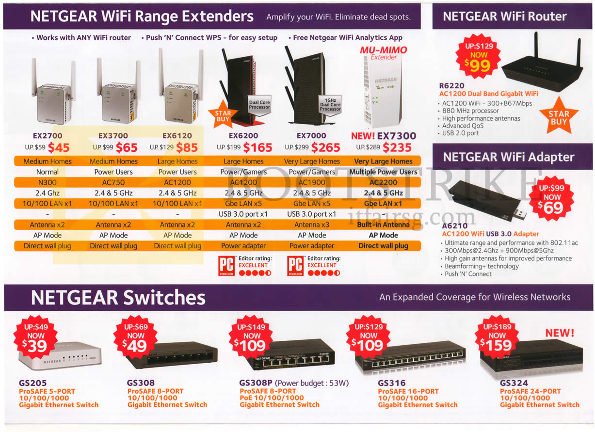 COMEX 2016 price list image brochure of Netgear Wireless Wifi Routers Extenders, Adapter, Switches, EX2700, EX3700, EX6120, EX6200, EX7000, Ex7300, R6220, A6210, GS205, GS308, GS308P, GS316, GS324