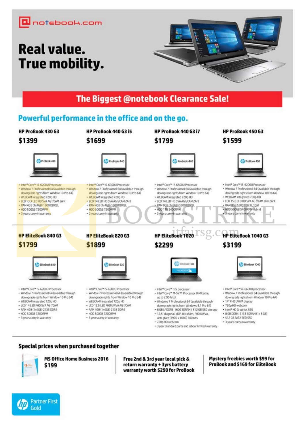 COMEX 2016 price list image brochure of Newstead Notebook.com HP Notebooks, Software, ProBook 430 G3, 440 G3, 450 G3, 840 G3, 820 G3, 1020, 1040 G3, MS Office Home Business 2016