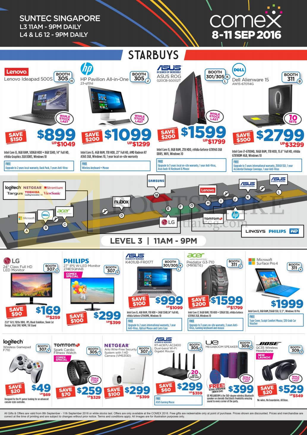 COMEX 2016 price list image brochure of Newstead Star Buys Notebooks, Desktop Pcs, Monitors, Router, Headphone, GamePad, Watch, Lenovo, HP, Asus, Dell, LG, Philips, Acer, Bose, UE, Netgear, Tomtom, Logitech
