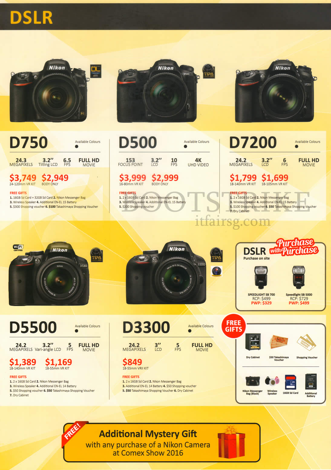 COMEX 2016 price list image brochure of Nikon DSLR Digital Cameras D750, D500, D7200, D5500, D3300