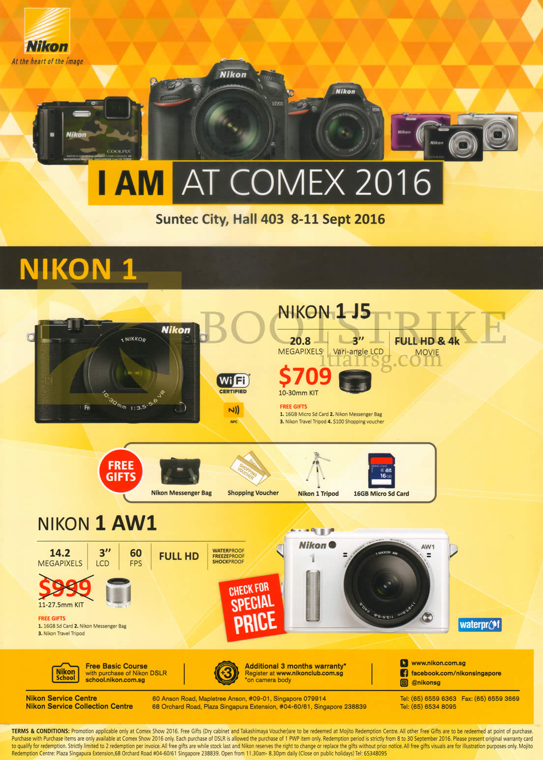 COMEX 2016 price list image brochure of Nikon Digital Cameras 1 J5, AW1