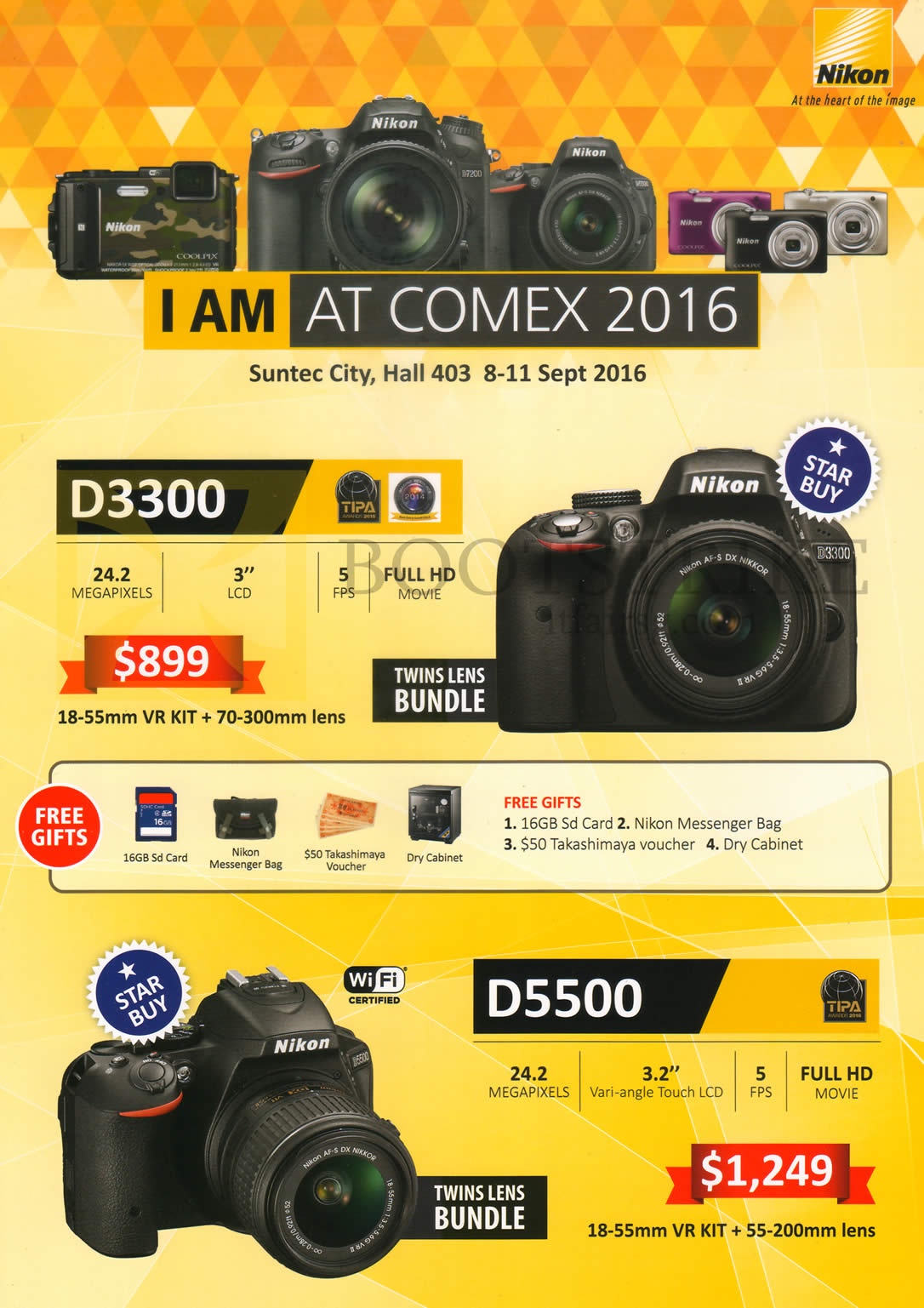 COMEX 2016 price list image brochure of Nikon Digital Cameras DSLR D3300, D5500