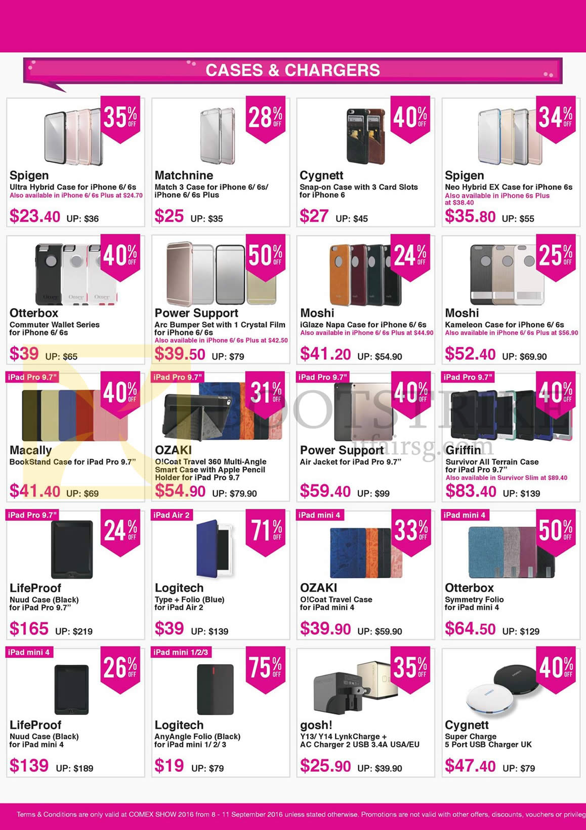COMEX 2016 price list image brochure of Nubox Accessories Cases, Chargers, Spigen, Matchnine, Cygnett, Otterbox, Power Support, Moshi, Griffin, Ozaki, Macally, LifeProof, Logitech