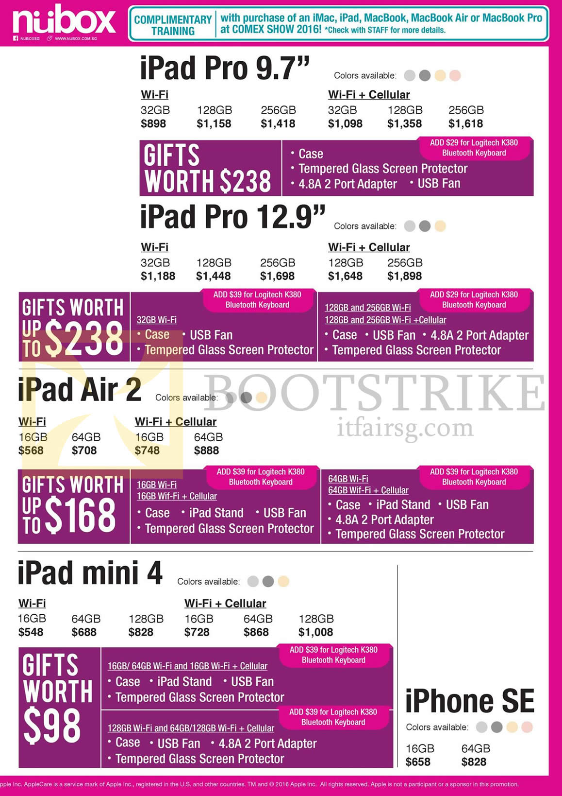 COMEX 2016 price list image brochure of Nubox Apple Tablets IPad Pro 9.7, 12.9, IPad Air 2, IPad Mini 4, IPhone SE