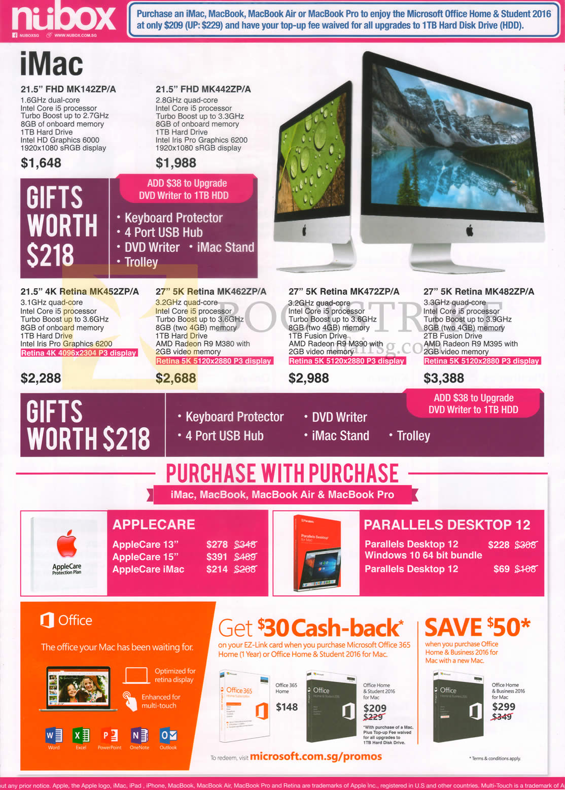COMEX 2016 price list image brochure of Nubox Apple IMac Desktop PC, Purchase With Purchase, 21.5 Inch, 27 Inch, Purchase With Purchase, Parallels Desktop