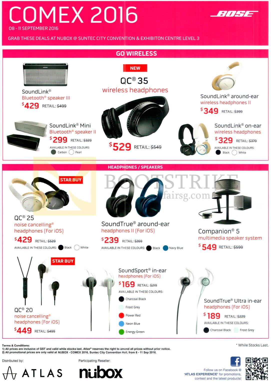 COMEX 2016 price list image brochure of Nubox Bose Headphones, Earphones, Speaker, Soundlink, Mini, QC 35, SoundLink Around-ear, QC25, SoundTrue, Companion 5, QC 20, Soundsport, SoundTrue Ultra In-Ear
