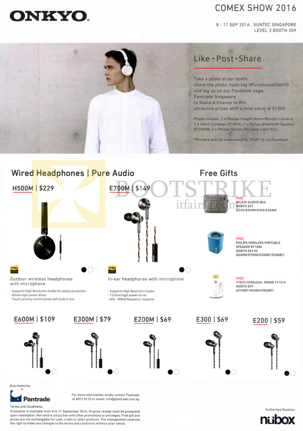 COMEX 2016 price list image brochure of Nubox Onkyo Headphone, Earphones H500M, E700M, E600M, E300M, E200M, E300, E200