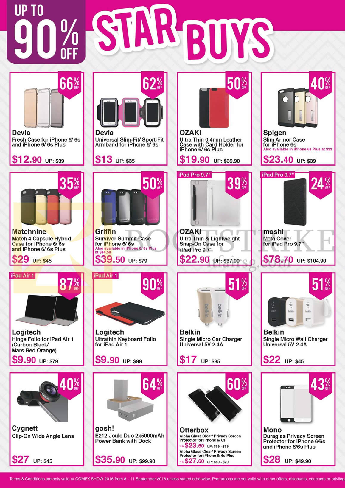 COMEX 2016 price list image brochure of Nubox Star Buys Accessories Cases, Universal Slim Fit, Leather Case, Meta Cover, Folio, Micro Car Charger, Wall Charger, Wide Angle Lens, PowerBank, Screen Protector